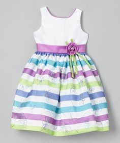 This Purple & Green Stripe Embroidered Dress - Girls by Jayne Copeland is perfect! #zulilyfinds