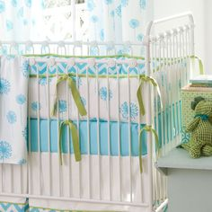 Aqua Dandelion Crib Bumper #carouseldesigns