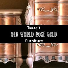 This old world, aged, French-inspired finish is just GORGEOUS! You can learn how to paint a rose gold metallic furniture finish with whimsical furniture artist Tracey Bellion's newest tutorial. Gold Furniture, Paint Furniture, Rustic Furniture, Antique Furniture, Furniture Makeover, Furniture Ideas, Retro Furniture, Furniture Stores, Painted Furniture