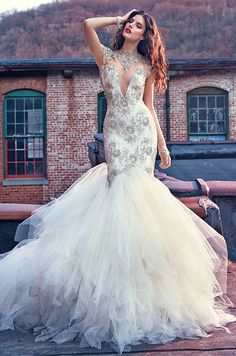 Galia Lahav tulle mermaid wedding dress with high jeweled neckline. Galia  Lahav 84b41db2485