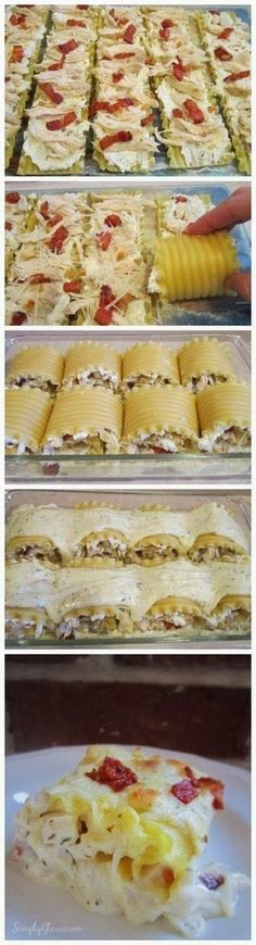 Chicken Bacon Lasagna Roll Ups Dinner served tonight
