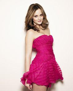 Leighton Meester in a fuchsia dress