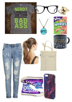 """""""NERD"""" by superfabulouzz ❤ liked on Polyvore featuring Ally Fashion, Muse, River Island, Converse, Out of Print and France Luxe"""