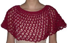The knot stitch capelet is great to wear when it's breezy outside. This capelet is also great for practicing your knot stitches. It is made with a simple round of single crochet and double crochet at the top, followed by rounds and rounds of knot stitches. This gives the capelet a very light, elegant lacey look. One size fits most and it can easily be adjusted if needed.