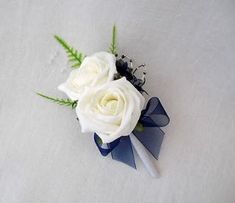 1 DOUBLE ROSE BUTTONHOLES IN IVORY AND NAVY BLUE - ARTIFICIAL WEDDING FLOWERS