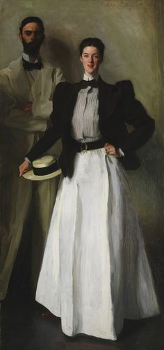 John Singer Sargent (American, 1856–1925). Mr. and Mrs. I. N. Phelps Stokes, 1897. The Metropolitan Museum of Art, New York. Bequest of Edith Minturn Phelps Stokes (Mrs. I. N.), 1938 (38.104) | The Stokes were married on August 25, 1895, and the portrait by Sargent was a wedding gift from James A. Scrimse. Sargent's first intention was to paint a single portrait of Edith, but then he decided to paint her with a Great Dane. When the dog was no longer available I. N. Phelps Stokes took his…