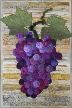 Lisa Ellis, thank you lisa. grapes on my to do raw edge applique project list TC - live background technique too - interesting Applique Patterns, Applique Quilts, Applique Designs, Quilt Patterns, Small Quilts, Mini Quilts, Landscape Art Quilts, Raw Edge Applique, Quilted Wall Hangings