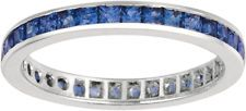 Princess Cut Sapphire safire Ring Eternity Band 14k Solid White Gold New Women's