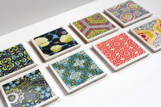 DIY Tile Coasters with scrapbook paper...looks easy enough, even for me!! Diy Coasters, Homemade Coasters, How To Make Coasters, Fabric Coasters, Custom Coasters, Ceramic Coasters, Craft Gifts, Diy Gifts, Craft Items