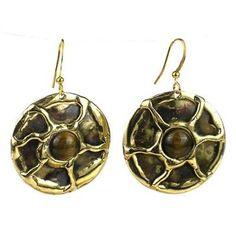 Gold Tiger Eye Sun Earrings - Brass Images (E)