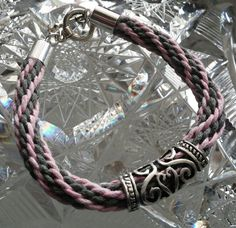Kumihimo Bracelet  Pink & Gray with by goosecrossingfarm on Etsy, $18.00