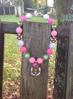 Gingerbread necklace, Christmas, girls chunky necklace, kids necklace, holiday necklace, bubble gum bead, bubblegum necklace, pink and green by SweetTennesseeGirls on Etsy https://www.etsy.com/listing/485497917/gingerbread-necklace-christmas-girls