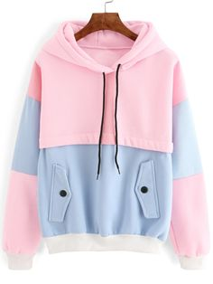 Vintage Pastel Pink and Blue Color Block Cut And Sew Hoodie