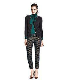 Embellished cardigan and brocade pants
