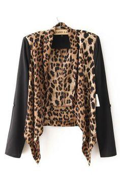 Leopard printing stitching Chiffon cardigan can pull sleeve jacket