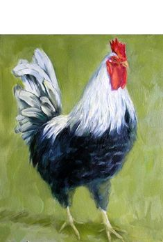 Items similar to Black Rooster Original Oil Painting, Holiday gift on Etsy Chicken Drawing, Chicken Painting, Chicken Art, Rooster Painting, Rooster Art, Animal Paintings, Animal Drawings, Indian Paintings, Rooster Images