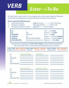 Worksheets: Spanish Verb Estar