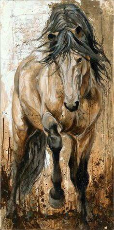 I am completely breath taken by this painting by Elyse Genest. The dusty and tough feel of the horses structure and surrounding is ever so elegant. I can't get over the muscular, strong, free feeling of the horses structure. Painted Horses, Arte Equina, Horse Drawings, Equine Art, Horse Love, Western Art, Animal Paintings, Horse Paintings, Horse Artwork