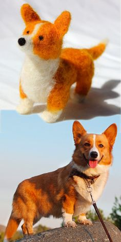 """From photos of your real corgi, get a mini version to bring with you everywhere!    Custom Pembroke Welsh Corgi """"Fiber Friends"""" - Mini Pet Portraits that match your pet."""