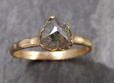 Fancy cut Salt and pepper Diamond Engagement 14k yellow Gold Wedding Ring Rough Diamond Ring byAngeline 0797