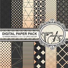geometric digital paper pack GOLD Instant Download