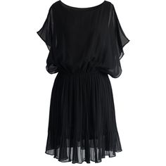 Chicwish Beauty Pleats Batwing Dress in Black ($51) found on Polyvore featuring dresses, black, black cocktail dresses, batwing sleeve dress, ruched waist dress, pleated dress and batwing dress