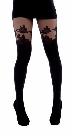 Pamela Mann Floral Suspender Tights-black  | eBay