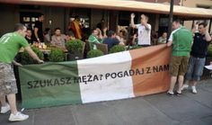 """Taking a completely different tact these lads, much more direct than singing Australian theme tunes or obscure references the locals won't understand.  This flag simply reads in Polish - """"Are you looking for Husband - talk with us"""""""
