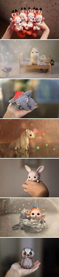 Unspeakable! Adorable needle felted toys by Russian artist Nadezhda Micheeva #toy #needlefeltingtutorials
