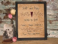 Personalized Primitive Wedding Sampler  by MockaMooseMarket, $18.00