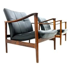Torbjørn Afdal; Rosewood and Leather Lounge Chairs for Bruksbo, 1960s.
