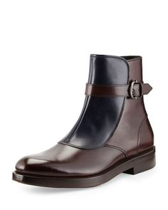 Power Two-Tone Leather Boot, Brown/Blue  by Salvatore Ferragamo at Neiman Marcus.