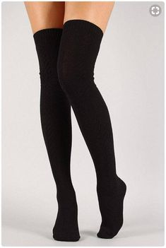 eac57323e Thigh High Socks Black Sweater Socks Women s Long Over