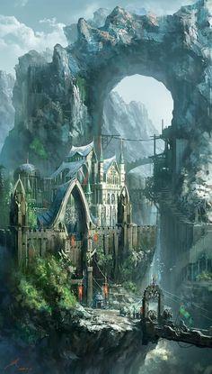 fantasy and art image Fantasy City, Fantasy Castle, Fantasy Kunst, Fantasy Places, Fantasy World, Fantasy Concept Art, Dark Fantasy Art, Fantasy Artwork, Anime Art Fantasy