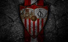 Download wallpapers Sevilla, logo, art, La Liga, soccer, football club, LaLiga, grunge, Sevilla FC
