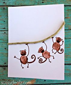 """fingerprint-monkey-craft-for-kids Father's Day: """"I Love Hangin' with You, Dad!"""""""