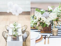 Paper lanterns, succulents, gold, white and black.  Modern and fresh! #idreamofYORK