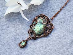 Labradorite copper wired pendant- Heart pendant - OOAK stone necklace