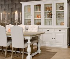 New England dining room - white upholstered dining chairs