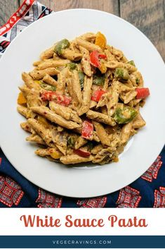 White Sauce Pasta is a perfect medley of aromatic herbs and flavors sautéed colorful vegetables and a creamy pasta. Pasta Bake Sauce, White Sauce Pasta, Pasta Sauce Recipes, White Pasta, Pasta Sauces, Shrimp Recipes, Vegetable Pasta, Vegetable Side Dishes, Pasta Recipes Indian