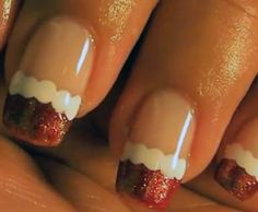 Easy and elegant Christmas nail art tutorial: Santa french manicure/video- http://www.examiner.com/article/easy-and-elegant-christmas-nail-art-tutorial-santa-french-manicure-video