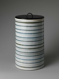 Water Jar with Striped Design, 18th century Japan,  Porcelain with underglaze blue decoration (Hizen ware)