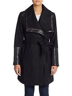Badgley Mischka Lorian Faux Leather-Trim Coat - Black - Size S