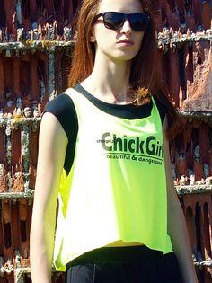 Bluzka wiązana z tyłu żółte fluo