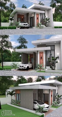 Minimalist House Design with 2 Bedrooms Small Modern House Plans, Modern Small House Design, Small House Exteriors, Modern House Facades, Modern Minimalist House, Simple House Design, Modern Architecture House, Minimalist Interior, Minimalist Bedroom