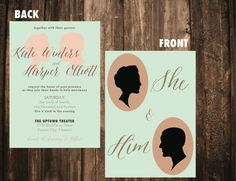 Cameo Silhouette Wedding Invitation // SAMPLE by blacklabstudio, $10.00