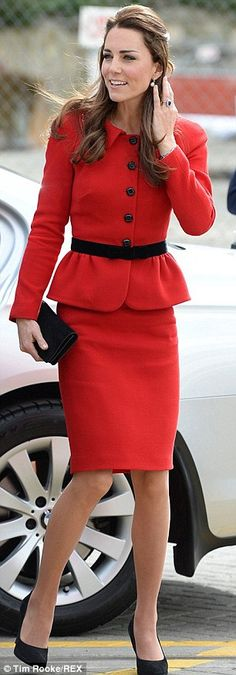 What a difference three years makes: The Duchess of Cambridge arriving in Christchurch today, left, and in St Andrews in 2011, right, wearin...