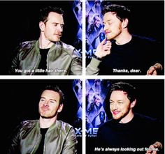 When Michael took time to make sure James looked his best. | 19 Times James McAvoy And Michael Fassbender Gave Us Intense Friendship Goals