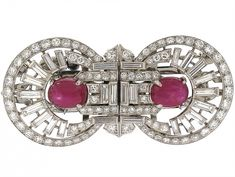 Art Deco Star Ruby and Diamond Double Clip Brooch in #505204