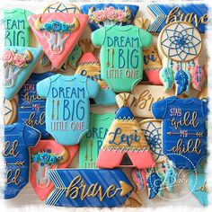 Blue, Green & Peach Baby Boy Boho Cookies